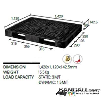 Export pallet 1120x1420 h 140 mm. Peso Tara 16 Kg