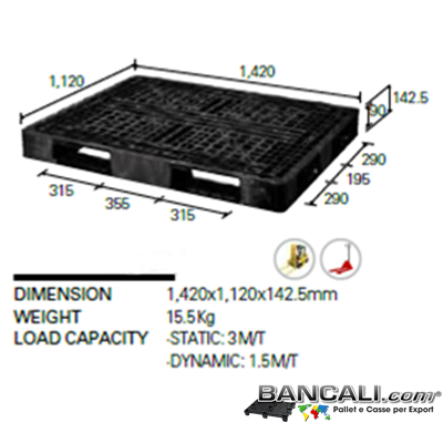 14H112x142W4NK - Export pallet 1120x1420 h 140 mm. Peso Tara 16 Kg