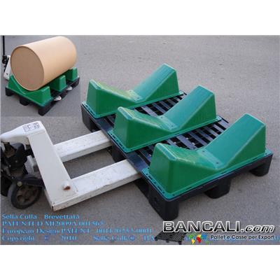 3-Selle-Culle-su-Pallet-Logistic80x120 - 3 Selle Culle montate su Pallet in Plastica Logistic80x120 per la movimentazione e il Trasporto di Bobine