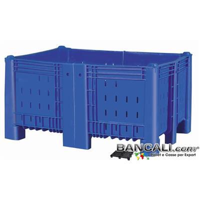 AB10x13h71DV6 - Agri Box Bins Lungo 1340 mm. Largo 1040 mm alto 720 mm Accorciato Saldato in Plastica Vergine 10 Piedi Igienico Forato Sovrapponibile Peso Tara 43 Kg.