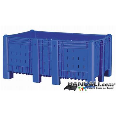 Agri Box Bins Lungo 1610 mm. Largo 1040 mm alto 720 mm in Plastica Vergine 10 Piedi Igienico Forato Sovrapponibile Peso Tara 49 Kg.