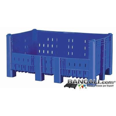 Agri Box Bins Lungo 1610 mm. Largo 1040 mm alto 720 mm in Plastica Vergine Finestrato 10 Piedi Igienico Forato Sovrapponibile Peso Tara 45 Kg.
