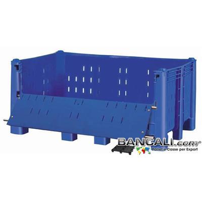Agri Box Bins Lungo 1610 mm. Largo 1040 mm con Sportello Rimuovibile alto 720 mm in Plastica Vergine 10 Piedi Igienico Forato Sovrapponibile Peso Tara 52 Kg.