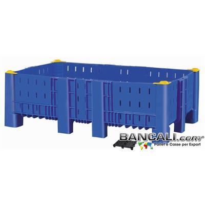AB10x16h71DV5 - Agri Box Bins Lungo 1610 mm. Largo 1040 mm ad altezza ridotta  430 mm in Plastica Vergine 10 Piedi Igienico Forato Sovrapponibile Peso Tara 40 Kg.
