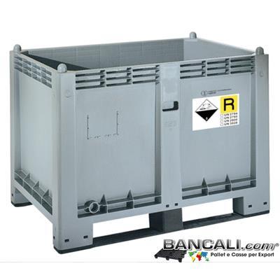 ADRBOX550L2 -  CargoPallet 800x1200 h85 550 Lit. in Plastica Omologato Trasporto Stoccaggio Batterie esauste ADR, P801, UN 2794, 2795, UN 2800, UN 3028 Peso Tara Kg. 30