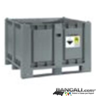 ADRBOX700L3T -  CargoPallet 1000x1200 h830 litri 700 in Plastica Omologato Trasporto Stoccaggio Batterie esauste ADR, P801, UN 2794, 2795, UN 2800, UN 3028 Peso Tara Kg. 40