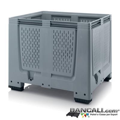 AGB10x12h10AP - Agri Box 1000x1200 h.1000 mm. in plastica HDPE Atossica per Alimenti, Pareti e Fondo Forato, Capienza 900 Litri, 4 piedi, Peso Tara 42 Kg.