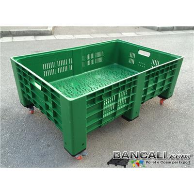 Agri-Box-80x120-h50-SA-Ruote - AgriBox® 800x1200 h 410 mm. Cassa in Plastica con Ruote Pareti Forate Fondo Forato Kg. 16