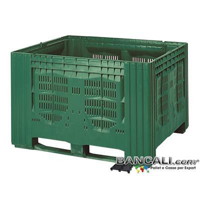 Agri10x12h78 - AgriBox Atossico Cassone 100x120  Altezza 78 cm; Fondo Fessurato, Pareti Fessurate; Atossico per uso Alimetare; 680 Litri; 4 Piedi; Verde.