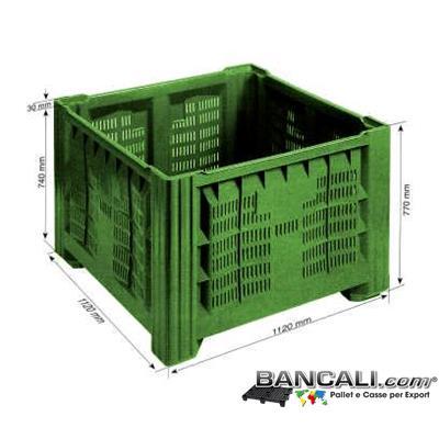 AgriBox112x112h77P4PBT - AgriBox Bins 1120x1120 h.770 mm di Plastica Vergine per uso Alimentare. Peso Tara Kg. 33