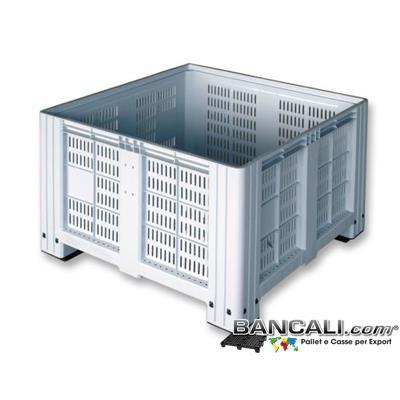 AgriBox113h76 - Agri BOX 1130x1130 h760 mm. Quadrato Grigliato, idoneo per l'agricoltura o per la logistica  prodotto con plastiche vergini di prima fusione.  Peso Tara Kg 35.
