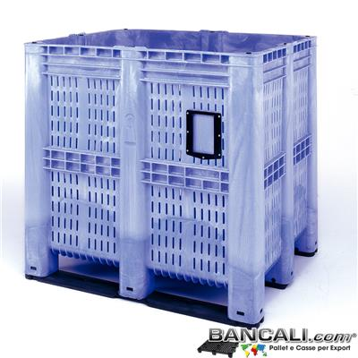 AgriBox115x130h125S3-ICB - AgriBox® Contenitore Box 1390 Litri,  Maxi Bins 1150x1300 h 1250 mm. con 3 Travese. Peso Tara 70 Kg.