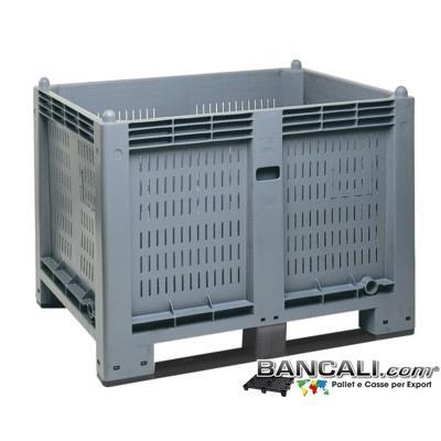 AgriBox® 800x1200 h.850;  CargoPallet Box 600 Litri; Cassone in Plastica Pareti Forate Fondo Chiuso Atossico: per Alimenti 2 Slitte Traverse sotto. Peso Tara 30 Kg.