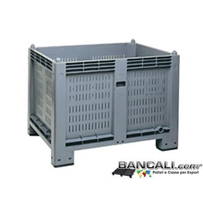 AgriBox600ATX - AgriBox® CargoPallet Box 600 Litri; Cassone in Plastica: Pareti Forate, Fondo Chiuso;  800x1200 h.850;  Atossico: per uso alimentare;