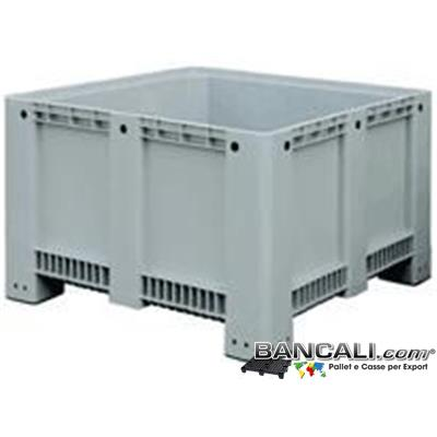 BOX13x13h76CP - Pallet Box di Plastica 113x113 h.76; Cassone Quadrato con Pareti Chiuse Fondo Chiuso 4 Piedi;  Realizzato con plastiche Nobili di prima Fusione. Peso Tara 37 Kg.