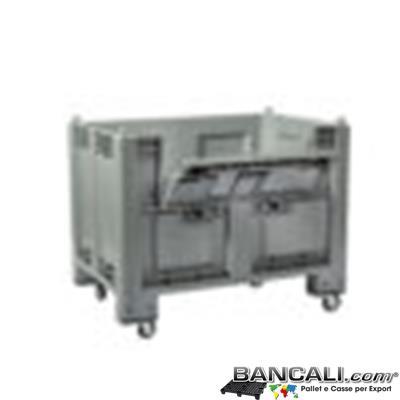BOX600Port-ATX-Ru - CargoPALLET 800x1200 h.850  Atossico per alimenti, con 4 ruote e Portello Laterale sul Lato Lungo. capacità 600l Le Pareti e il Fondo sono Chiusi.