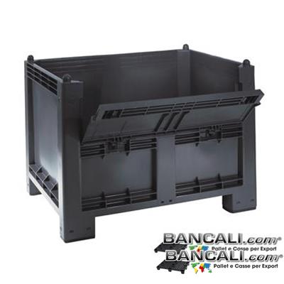 BOX700Port-ATX-Ru - Box in plastica 1000x1200 h.830 mm. Atossico per alimenti,  Dotato di Sportello Lato Lungo e di 4 Ruote. Sovrapponibile e Accatastabile  Peso Tara Kg. 33