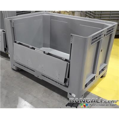BOX80x120POCF - Box in Plastica 800x1200 h.760 mm. Molto robusto stampato con plastiche Vergini, Cassa dotata di 4 piedi e Sportello  sul lato Lungo, Capacita 500 litri, Peso Tara 32 Kg