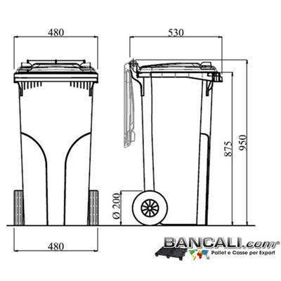 Bin120LRuoteJ - Cassonetto per Rifiuti 120 Litri in plastica di vari colori per la Raccolta Differenziata Altezza 950 mm Larghezza 480 mm. Lunghezza 530 mm. con 2 Ruote in gomma piena Peso Tara 7,5 Kg