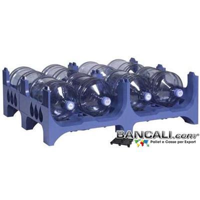 BoccioniPALLET - PALLET Accatastabile in Plastica Porta Boccioni. Con 2 Vani, per 4+4 = 8 Boccioni a Piano / a Pallet. dimensione: 1000x1200  (h. 380/423 mm.)  Plastica: PoliPropilene Carbonato. Kg. 17