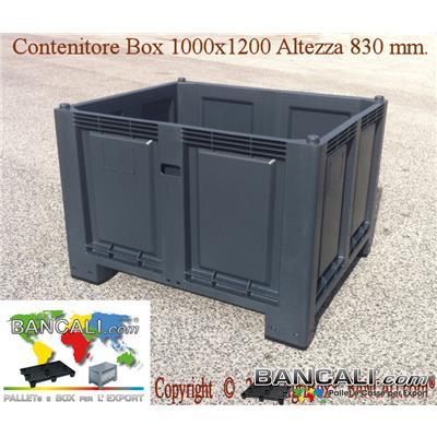 Box100x120h83-ind - Box in plastica 1000x1200 h.830 mm usi Universali industriali; Capacità 700 Litri, 4 piedi inforcabile su tutti i 4 Lati. Sovrapponibile e Accatastabile. Peso Tara Kg. 30