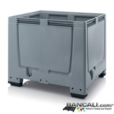 Box10x12h08P4AP - Box di plastica 1000x1200 x h.800 mm. Realizzato con PlasticheVergini misure interne: 1110x910x h.610 mm con 4 piedi e inforcabile 4 Lati. Sovrapponibile e Accatastabile. Peso Tara 36 Kg