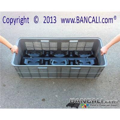Box119x49xh37 - Cassetta Plastica Lunga 1190x490 h. 370 mm. Grigliata Sovrapponibile con 6 Maniglie Pareti Forate Fondo Chiuso per usi Universali Peso 5,8 Kg.