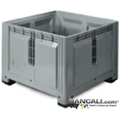Box120x120h85F - ExportBox® in plastica 1200x1200 h.850 mm Contenitore Quadrado Grande con 4 piedi e inforcabile 4 Lati. Sovrapponibile e Accatastabile. Peso Tara 49 Kg