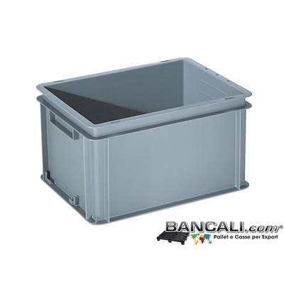 Box40x30h22DM - Contenitore Robusto 400x300xh.220mm. in Plastica Atossica capacità Litri 22. La cassa è sovrapponibile  Dotata di 2 Maniglie NON Passanti. Peso Tara Kg. 1,050