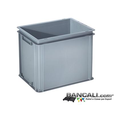 Box40x30h32DM - Contenitore Robusto 400x300xh.320 mm. in Plastica Atossica capacità Litri 32. La cassa è sovrapponibile Dotata di 2 Maniglie NON Passanti. Peso Tara Kg. 1,370