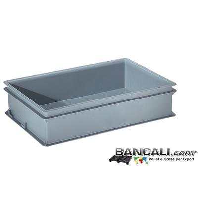 Box40x60h14DM - Contenitore Robusto 400x600xh.140 mm. in Plastica Atossica Capacità Litri 25. La cassa è sovrapponibile Dotata di 2 Maniglie NON Passanti. Peso Tara Kg. 1,200