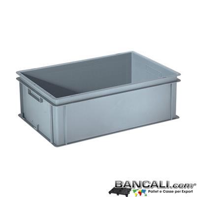 Box40x60h20DM - Contenitore Robusto 400x600xh.200mm. in Plastica Atossica Capacità Litri 35. La cassa è sovrapponibile Dotata di 2 Maniglie NON Passanti. Peso Tara Kg. 1,800