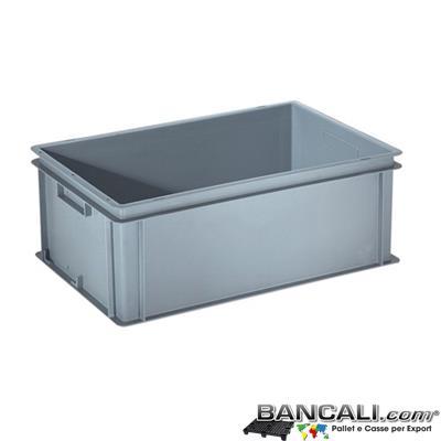 Box40x60h22DM - Contenitore Robusto 400x600xh.220mm. in Plastica Atossica capacità Litri 40. La cassa è sovrapponibile  Dotata di 2 Maniglie NON Passanti. Peso Tara Kg. 2,100