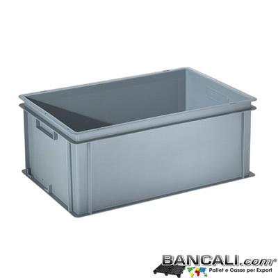 Box40x60h24DM - Contenitore Robusto 400x600xh.240mm. in Plastica Atossica  capacità Litri 45. La cassa è sovrapponibile Dotata di 2 Maniglie NON Passanti. Peso Tara Kg. 2,000