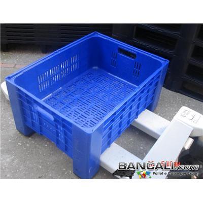 Box60x80h41FB -  Cassa o Gabbia Micro 600x800 h. 410 mm. Colore BLUE Litri 115; Pareti Forate, Fondo Forato. CON 2 Manigle Passanti Peso Tara Kg. 7,5