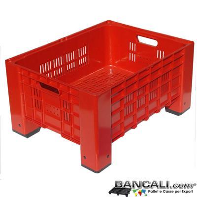 Box60x80h41FR -  Cassa o Gabbia Micro 600x800 h. 410 mm. Colore ROSSO Litri 115; Pareti Forate, Fondo Forato con 2 Manigle Passanti Peso Tara Kg. 7,5