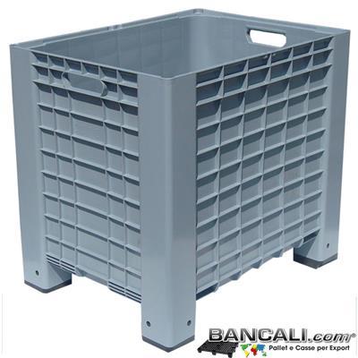 Box60x80h74CG - Pallet-Box 600x800 h.740 mm. Cassa in plastica Contenitore con Maniglie per l'agricoltura o industria. 4 piedi Colore Grigio. Peso Tara 12,5 Kg.