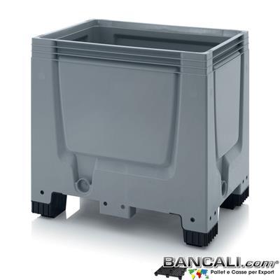 Box60x80h79AP - Contenitore Box 600x800 altezza 790 mm in plastica atossica , 4 piedi, Pareti chiuse Idonea a contenere Liquidi. Peso Tara 15