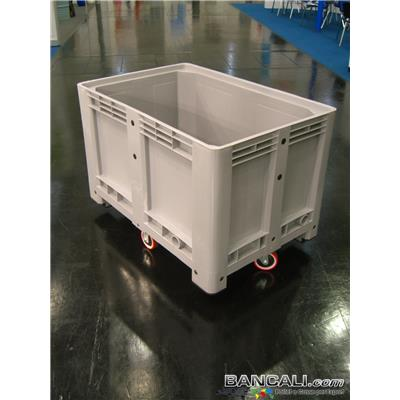 Box80x120R4CF - Pallet Box in plastica 800x1200 h.810 mm. Contenitore in HDPE Vergine, per uso Universale, Capacità 500 Litri, con 4 ruote in Poliuretano, posizionate a rombo Peso Tara 40 Kg