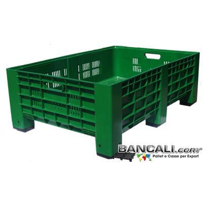 Box80x120h41F - AgriBox 800x1200 h 410 mm. Micro Bins in plastica Pareti Forate, Fondo Forato, Ventilato idoneo per l'agricoltura; Peso Tara 15 Kg.