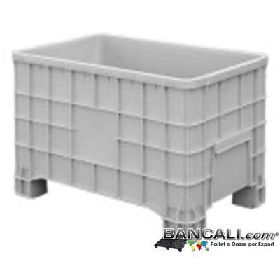 Box80x120h80J - EuroBOX 80x120 h.80 cm. ECONOMICO Contenitore Box in plastica Universale di colore Grigio; Materiale Vergine di prima Fusione, con 4 Piedi.