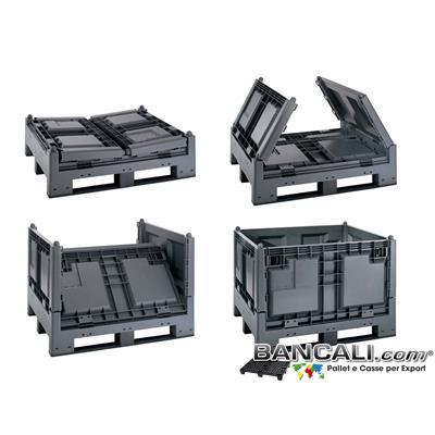 BoxNavetta100 - BOX  Navetta  100x120 h.84  (ripiegato h.36cm)  Cassa Ripieghevole a Pereti abbattibili in Plastica