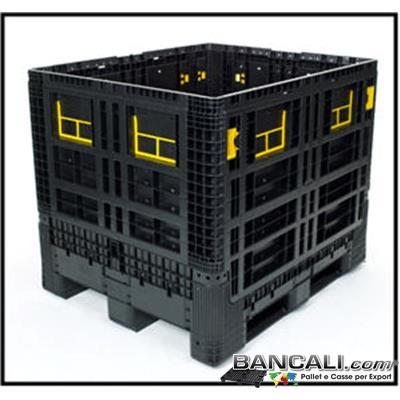 BoxRip10x12ante4h975 - Box in Plastica 1000x1200 h.975 mm. 4 Pareti Ripieghevoli, di cui 4 sportelli abbattibili; Peso 49 Kg. Capacità in Litri 800; Fornito con Coperchio.