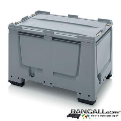 BoxSC8x12h8AP - Euro Box 800x1200 h. 790 mm in Plastica Atossica , idoneo per l'uso Alimentare, dotato di  Coperchio ,con 4 piedi, e 4 Lucchetti per l'anti rapina  Peso Tara 31 Kg