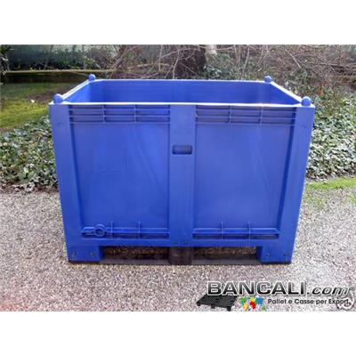 CARGO600BLUE - CargoPallet EuroBox 800x1200 h.850 mm. Stampato Colore Blu per Classificare Merce  550 Lit. Atossico Plastiche Nobili Alimenti Usi igienici. Peso Tara Kg. 25