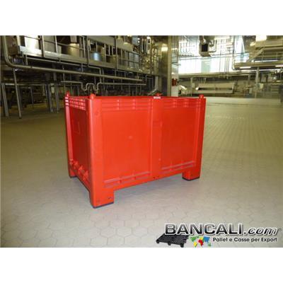 CARGO600ROSSO - CargoPallet EuroBox 800x1200 h.850 mm. Stampato Colore Rosso per Classificare Merce  550 Lit. Atossico Plastiche Nobili Alimenti Usi igienici. Peso Tara Kg. 25