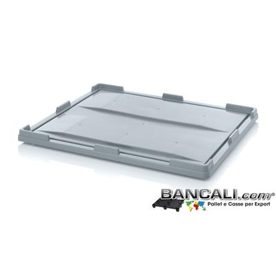 CO100x120h8AP - Coperchio in Plastica 1000x1200 h...mm. In HDPE per Contenitori, Box, Sovrapponibile. Peso Tara 7 Kg.