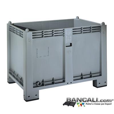 Cargo-Pallet-600-Litri-industr. - Cargo Pallet BOX 80x120 h85cm Materiale Plastica Industriale Pareti Chiuse  4 piedi. Peso Tara 25 Kg.