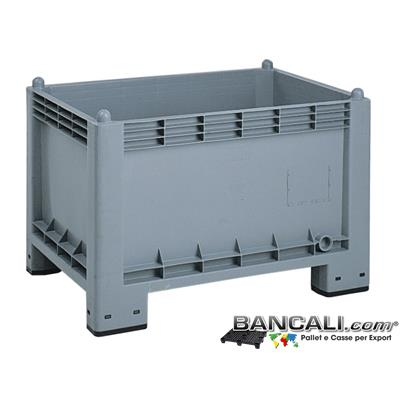 Cargo300ATX - Box Cassa in Plastica 700x1000 h.650 mm 4 Piedi igienico Atossico Uso Alimentare Grigio Pareti Chiuse Pittogramma HACCP e Standard BRC. Peso Tara 17 Kg.