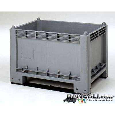 Cargo300ind2SL - Contenitore in Plastica CargoPallet 300 per Uso industriale ribaltabile;  con 3 Slitte/traverse sotto montate e imbulonate. Dimensione:  cm70x100 h65 cm.  Peso circa  19 Kg.